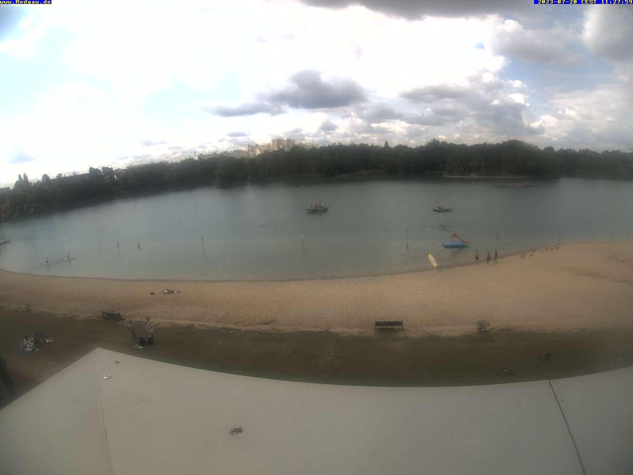 Externes Medium: Die Webcam zeigt im 3-Minuten-Takt den Badesee in Rodgau (Nieder-Roden)